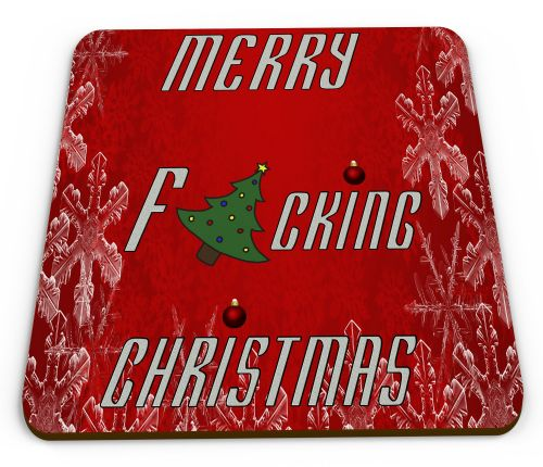 Merry F*CKING Christmas Funny/Rude Novelty Gift Mug Coaster